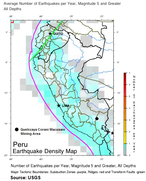 Earthquake Overlay Macusani FREQUENCY
