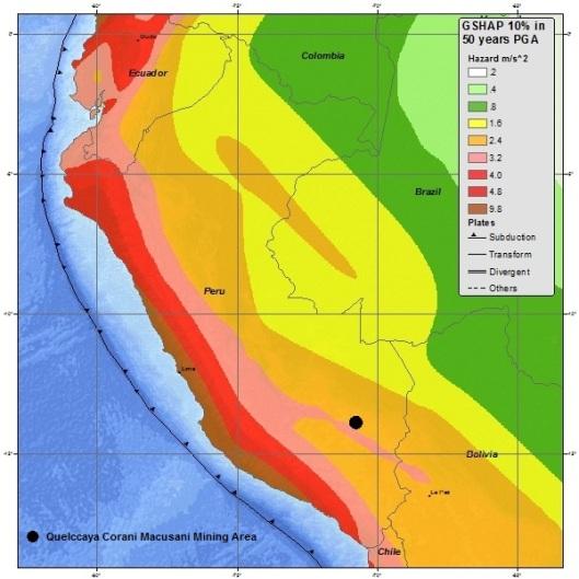 Earthquake Overlay Macusani PGA