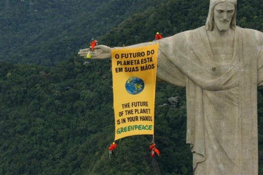 Biodiversity Banner on Christ the Redeemer Statue