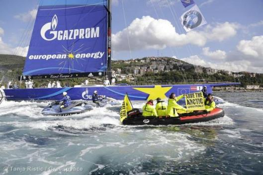 Gazprom Protest At Barcolana Regatta in Italy.