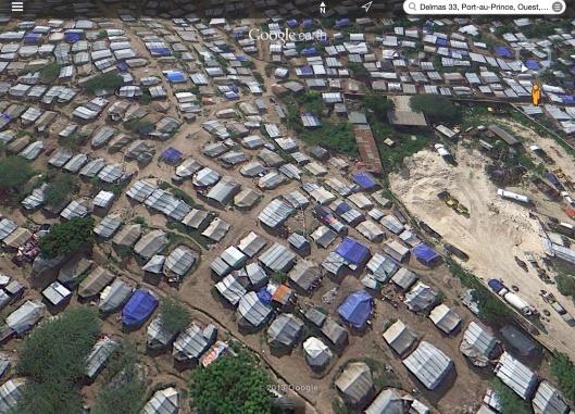 Tent-Shanties near concrete quarry