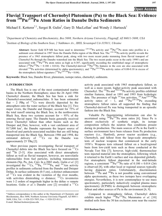Fluvial Transport of Chernobyl Plutonium to the Black Sea, 2010