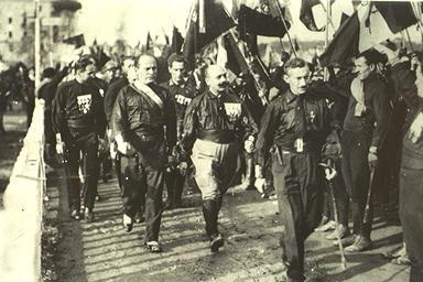 Benito Mussolini and Fascist blackshirts during the March on Rome in 1922