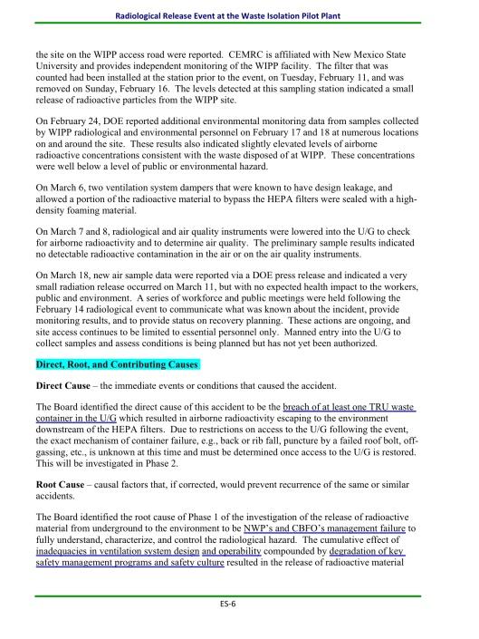 WIPP Report April 2014, ES 6