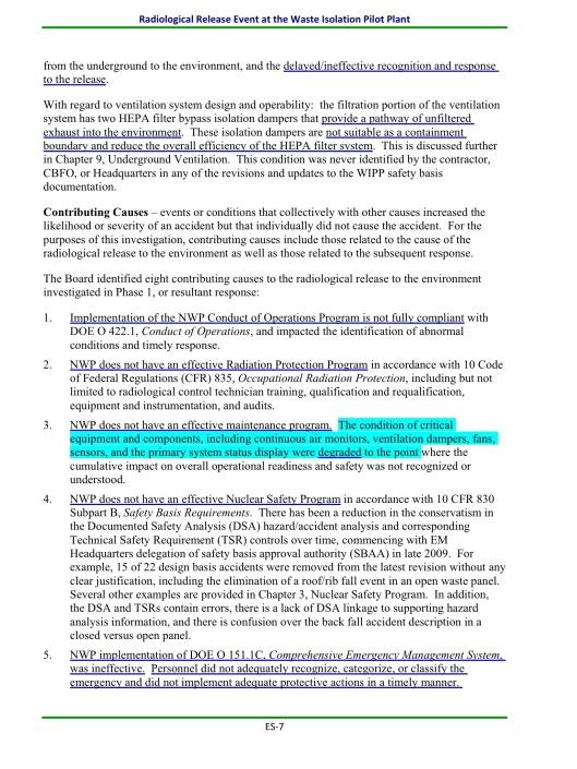 WIPP Report April 2014, ES 7