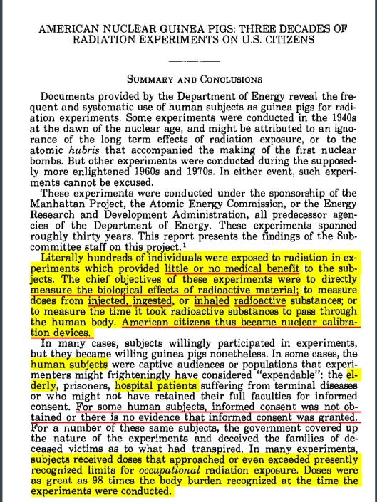 American Nuclear Guinea Pigs, 1984, US Congress, Summary