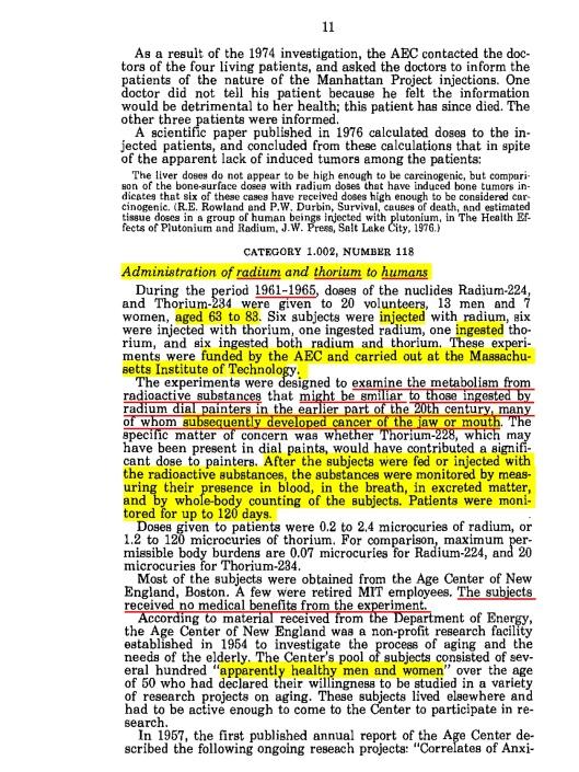 American Nuclear Guinea Pigs, 1984, p. 11, Radium thorium expts.  1961 to 65, p. 11