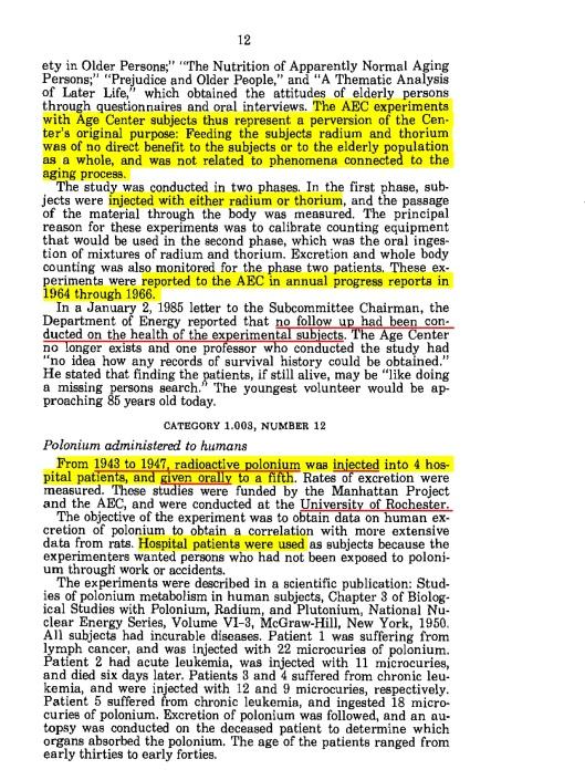 American Nuclear Guinea Pigs, 1984, p. 11, Radium thorium expts.  1961 to 65, p. 12
