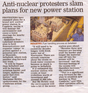Anti-nuclear protestors slam plans for Moorcide. Westmorland Gazette  May 8 2014