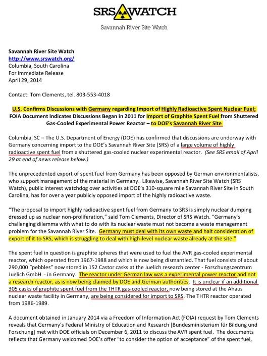 SRSWatch News Release 29-4-2014 German Rad Waste, p. 1