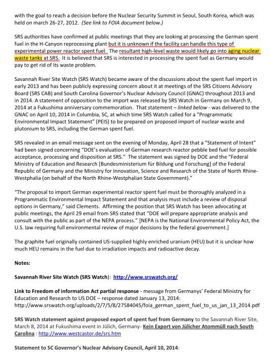 SRSWatch News Release 29-4-2014 German Rad Waste, p. 2