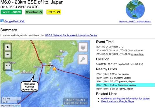 Hamaoka NPP-May 2014 earthquake-Tokyo
