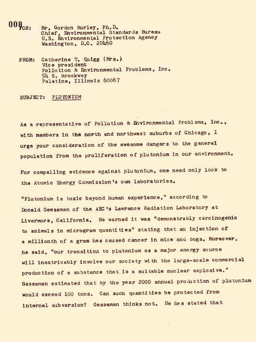 US EPA Comment 1974 on Pu