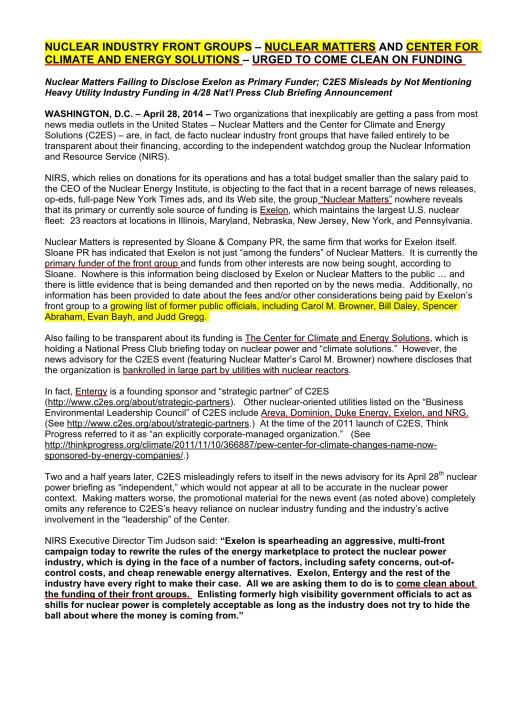 NIRS April 28, 2014 re Nuclear Matters