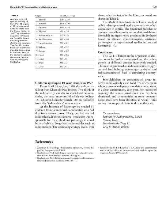 Chronic Cs-137 incorporation in children's organs Y. I. Bandazhevsky p. 490 www.smw.ch Creative Commons 2.5