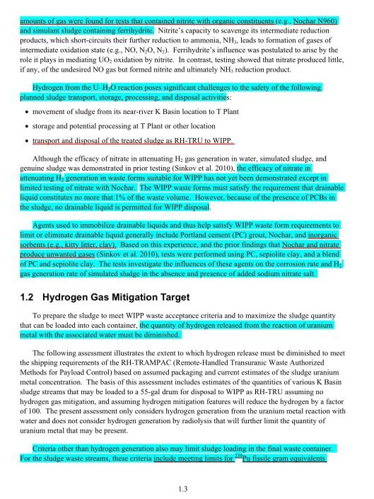 Mitigation of Hydrogen Gas, p. 1.3