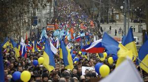 50,000 marched in Moscow last month to protest Russia's invasion of Crimea.