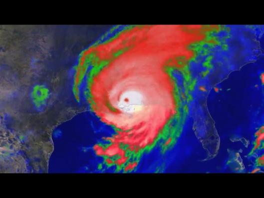 Hurricane Katrina making landfall in Mississippi, NOAA