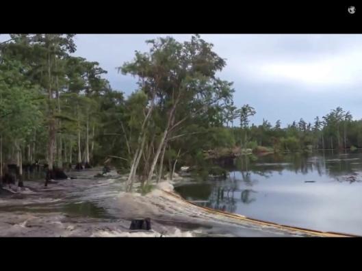Imploding salt dome-sinkhole, Assumption Parish video, Aug. 2013