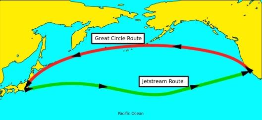 Jet Stream Great Circle Route Public Domain via wikimedia