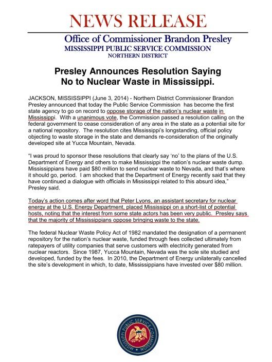 Miss PSC Press Release re Nuclear Dump, June 2014