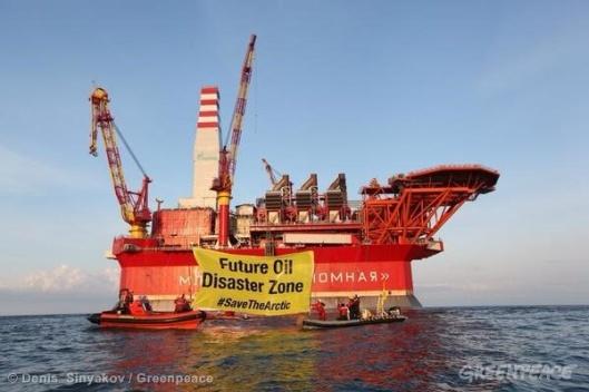 Greenpeace protest Russia Prirazlomnaya oil rig