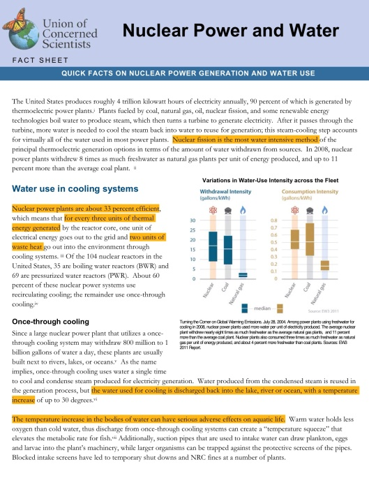 Nuclear Power and Water, Union of Concerned Scientists, p. 1