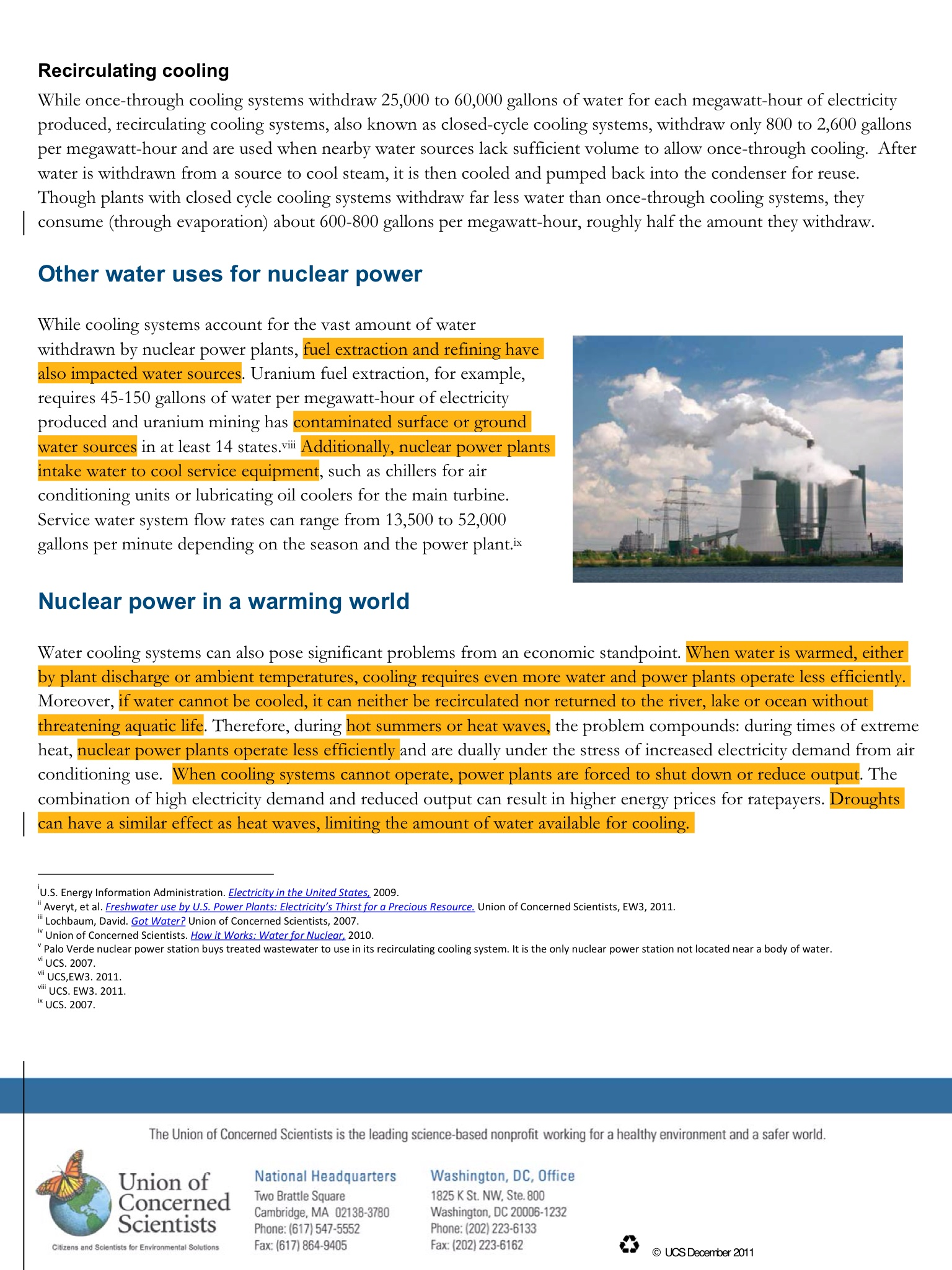 Nuclear Power and Water In a Hot Dry World Nuclear Doesn t