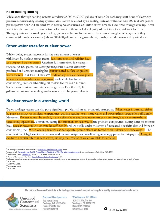 Nuclear Power and Water, Union of Concerned Scientists p. 2