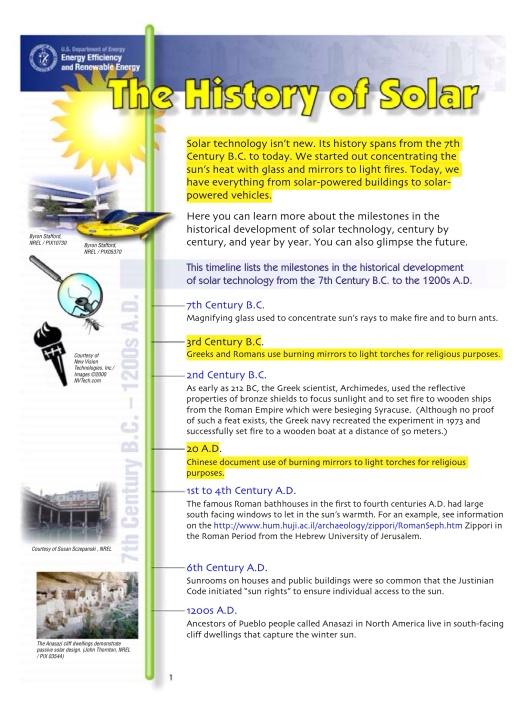 US DOE Solar Timeline, p. 1