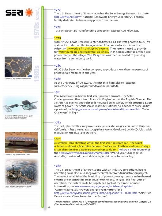 US DOE Solar Timeline, p. 6