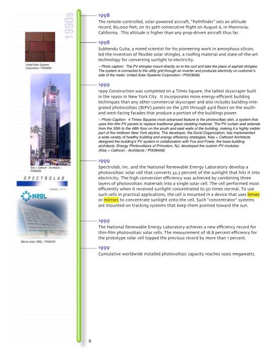 US DOE Solar Timeline, p. 9