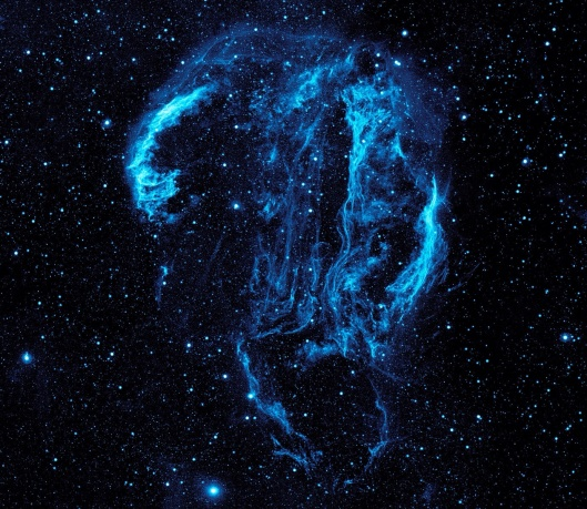 ultraviolet image of the Cygnus Loop Nebula, taken by NASA's Galaxy Evolution Explorer.