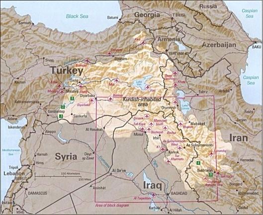 Kurdistan, CIA map ca 1992