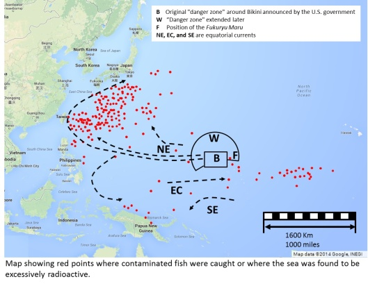"""Map showing points (red dots) where contaminated fish were caught or where the sea was found to be excessively radioactive based on google maps and a simplified version of the Y. Nishiwaki, map found in S. Sevitt, """"The Bombs,"""" The Lancet, July 23, 1955, pp. 199-201"""