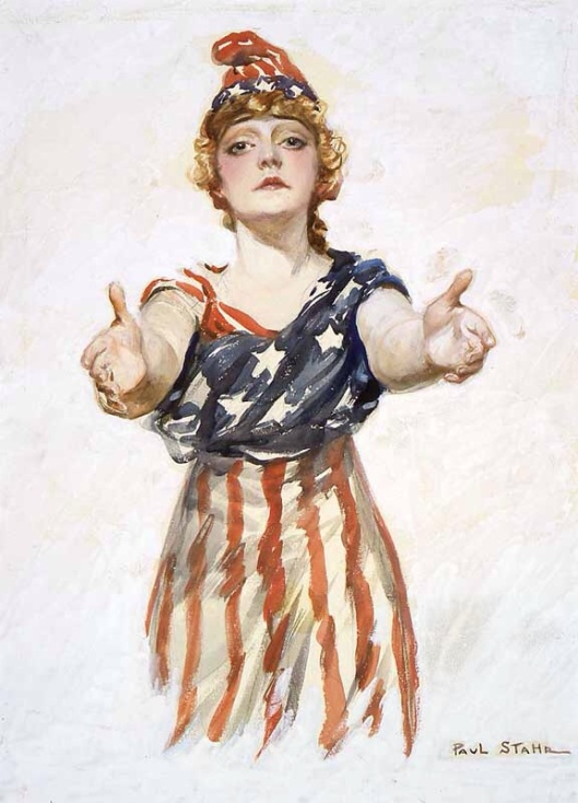 "Columbia reaching out to viewer. Original design for the ""Be Patriotic"" poster by Paul Stahr, ca. 1917-18"
