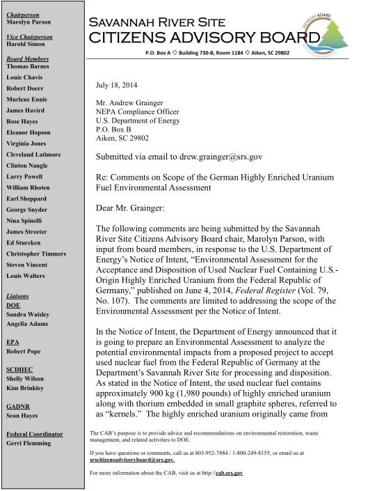 SRS CAB Parson Comment German Nuclear Waste p. 1