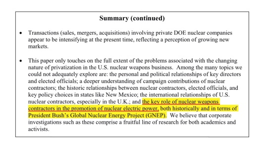 Privatization and Crony Capitalism in the Nuclear Weapons Complex  Damon Hill and Greg Mello, 2006 , p. 3