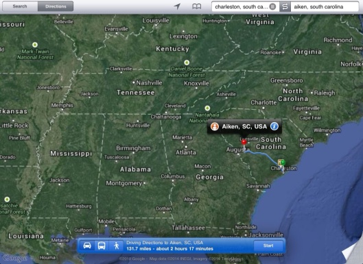 from Charleston to Aiken SC