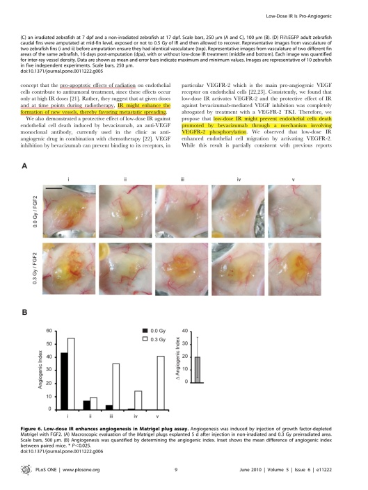 Low Doses of Ionizing Radiation Promote Tumor Growth and Metastasis by Enhancing Angiogenesis Ines Sofia Vala et. al. 2010, p. 9