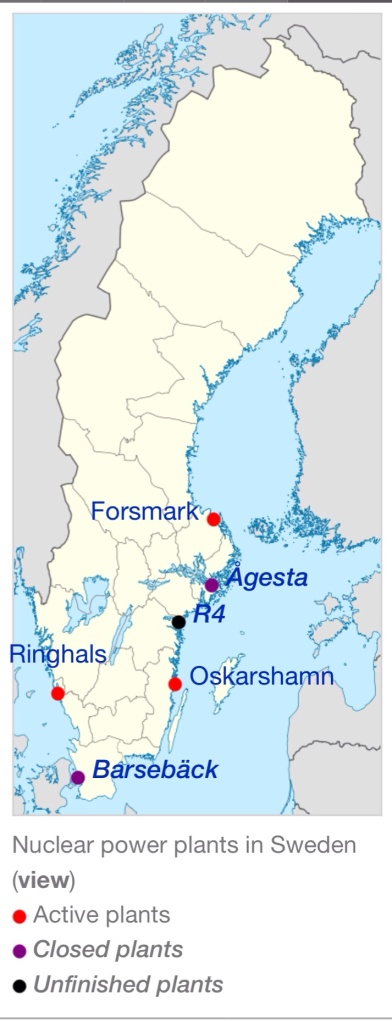 Sweden Nuclear Power via Wikipedia