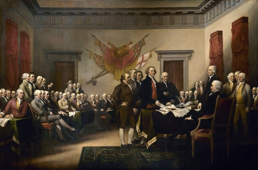 John Trumbull's painting, Declaration of Independence, depicting the five-man drafting committee of the Declaration of Independence presenting their work to the Congress.  The original hangs in the US Capitol rotunda. January 1 1819