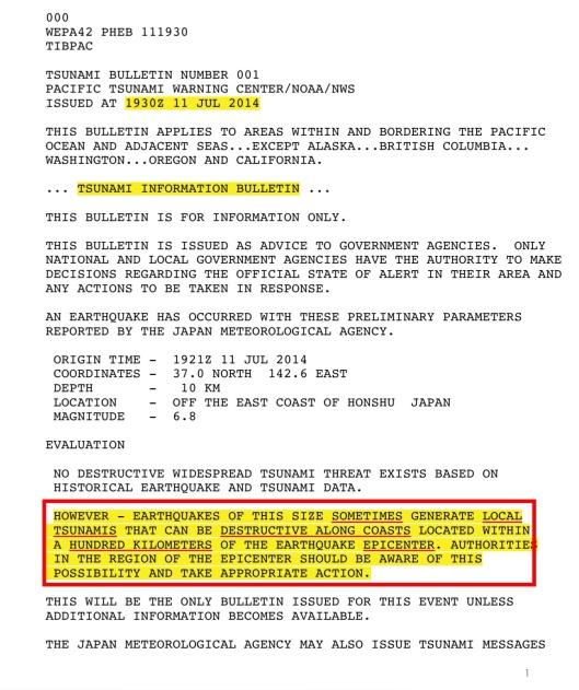 July 11 2014 Tsunami Warning p. 1