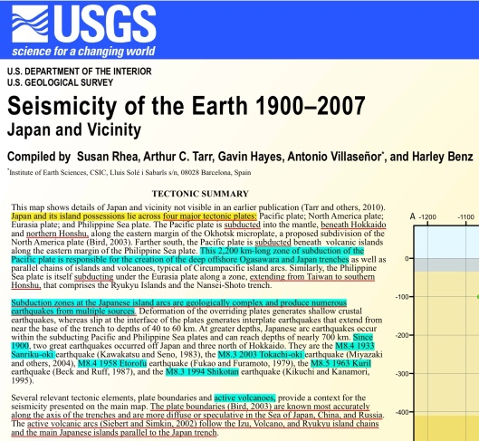 Rhea, Susan, et. al.  2010, Seismicity of the earth 1900–2007, Japan and vicinity: USGSOpen-File Report 2010–1083-D,  http://ptwc.weather.gov/