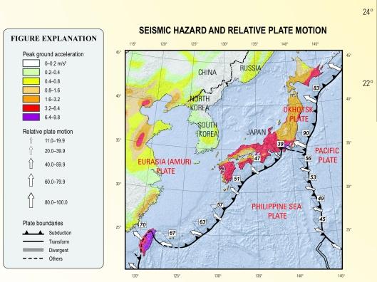 Rhea, Susan, et. al.  2010, Seismicity of the earth 1900–2007, USGS Japan and vicinity: Seismic Hazard