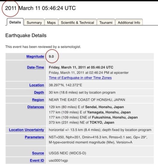 USGS Coordinates 311 2011 Quake