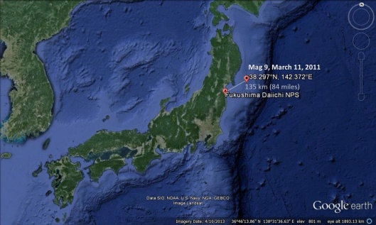 Distance Fukushima Daiichi to 2011 Earthquake
