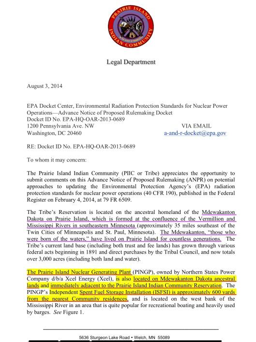 Prairie Island Sioux EPA comment, p. 1