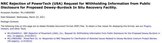 NRC Rejects Powertech Witholding info March 2011