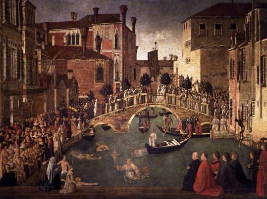 The Miracle of the Cross at the Bridge of S. Lorenzo (Italian: Miracolo della Croce caduta nel canale di San Lorenzo) Bellini 1500